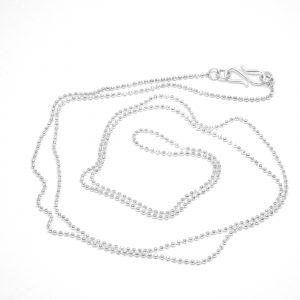 Kuglekæde facetteret, Halskæde i sterling sølv, forgyldt eller 14 karat