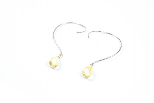 Loops øreringe med med Citrin og ædelsten og krystaller
