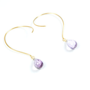 Loops øreringe med lys Ametyst og ædelsten og krystaller
