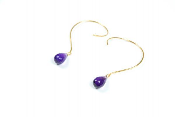 Loops øreringe med Ametyst ædelsten og krystaller