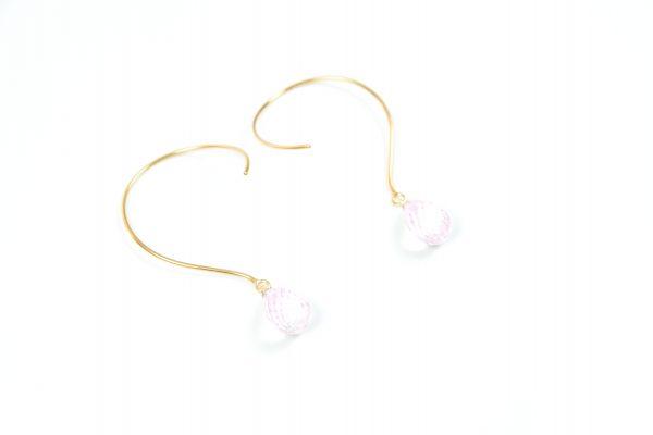 Loops Øreringe med rosakvarts ædelsten og krystaller
