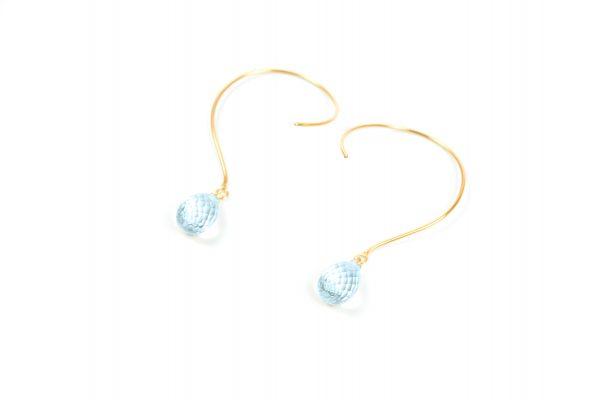 Loops Øreringe med Sky Blue Topas ædelsten og krystaller