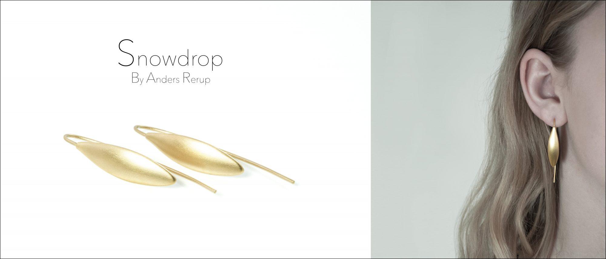 Snow Drop øreringe i sterling sølv og i 14 karat guld.