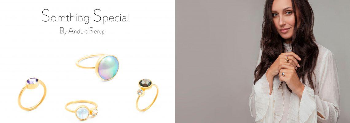 Something Special smykke serie, ringe med Cortez perler og ædelsten.
