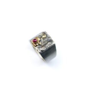 Sølvring med 14 karat Guld og lyserød Turmalin